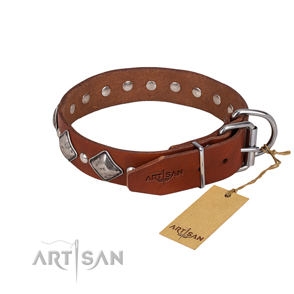 Genuine leather dog collar with worked out surface