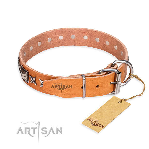 Wear-proof leather collar for your handsome pet