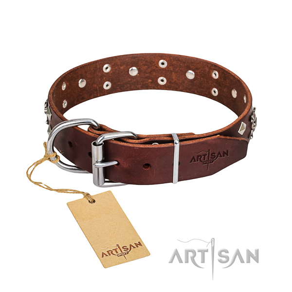 Indestructible leather dog collar with rust-proof hardware