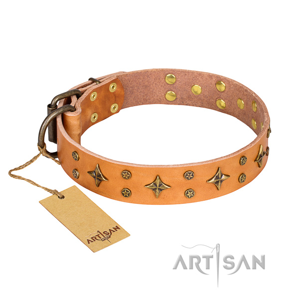 Long-wearing leather dog collar with non-rusting hardware