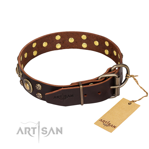Practical leather collar for your favourite pet