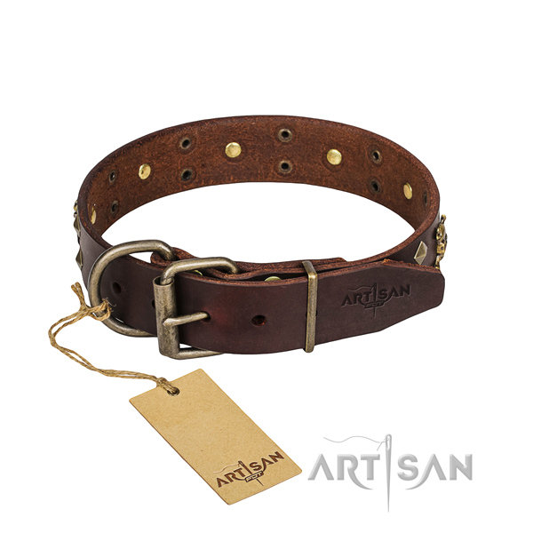 Leather dog collar with thoroughly polished edges for convenient everyday appliance