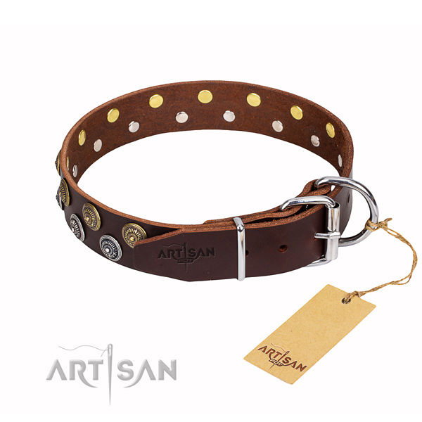 Tear-proof leather collar for your favourite canine