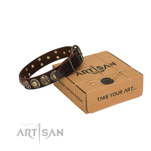 Embellished full grain natural leather dog collar for easy wearing