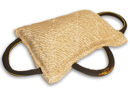 Easy of Use Jute Bite Pillow - 3 handle bite tug for young dogs