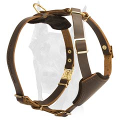 Soft Padded Brown Leather Dog Harness for Puppies