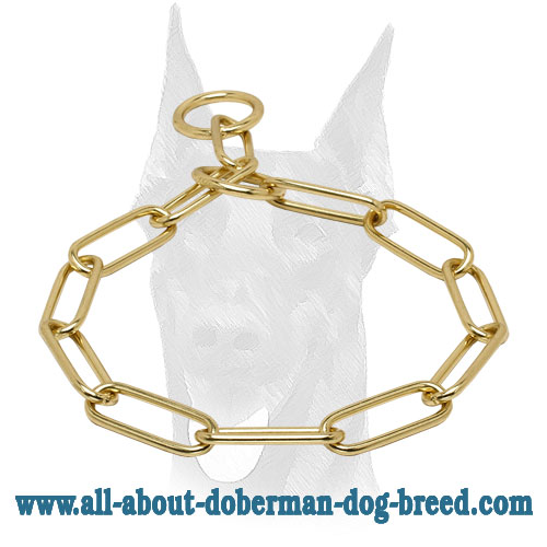 Brass Choke Collar Doberman Fur Saver 1/6 inch (4 mm) link diameter