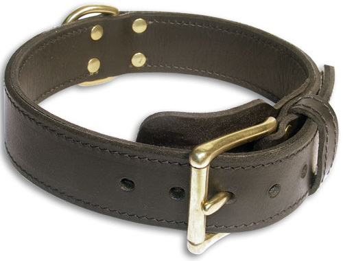 Leather 2PLY Black collar 24'' for Doberman /24 inch dog collar-c33nh