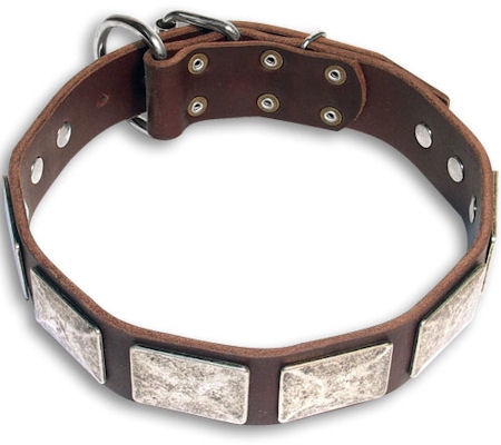 Handcrafted Doberman Brown dog collar 18 inch/18'' collar- c83