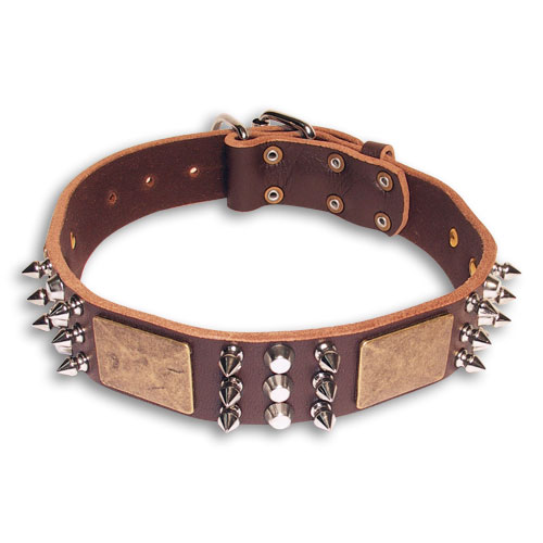 Leather Brown collar 25'' for Doberman /25 inch dog collar-C86