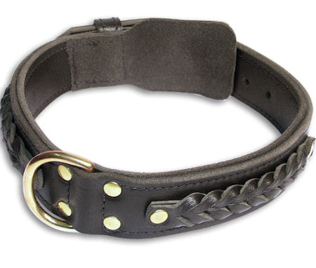 Doberman Braided Black collar 22'' /22 inch dog collar-C55s33