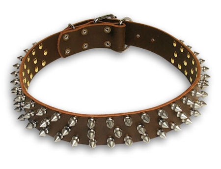 Spiked Brown collar 26'' for Doberman /26 inch dog collar-S44