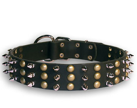 Doberman Studded&Spikes Black collar 23''/23 inch dog collar-S59