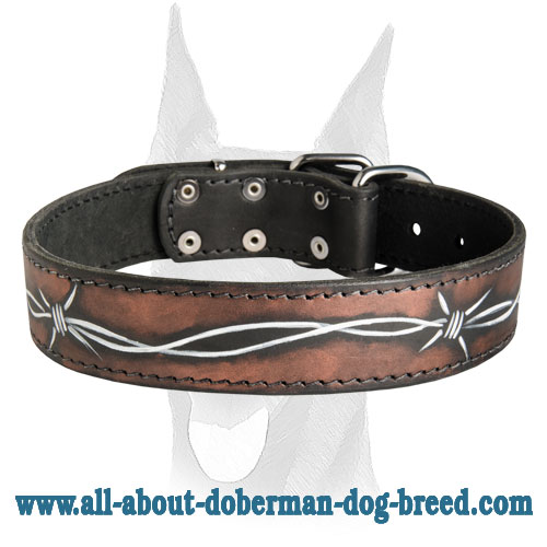 Luxury handpainted Barbed Wire leather collar for Doberman