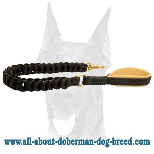 Durable leather braided leash for Doberman