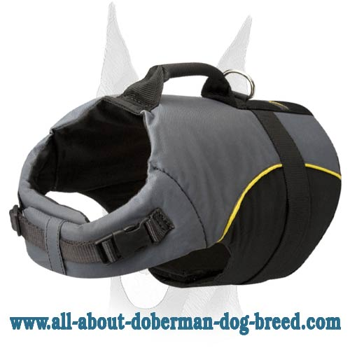Adjustable Nylon Dog Harness Vest with Handle for Doberman Rehabilitation and Walking