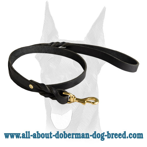 Stitched and riveted leather Doberman leash