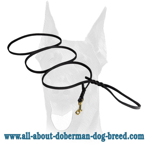 Soft elegant leather Doberman leash