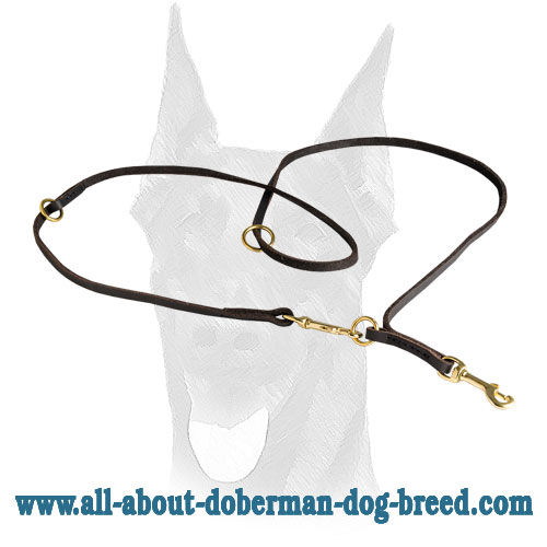 Elegant design soft leather Doberman leash