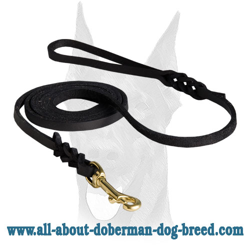 Leather Doberman leash with soft handle