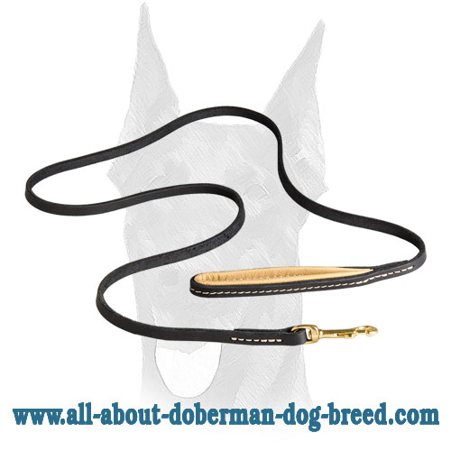 Doberman leather leash with brass snap hook