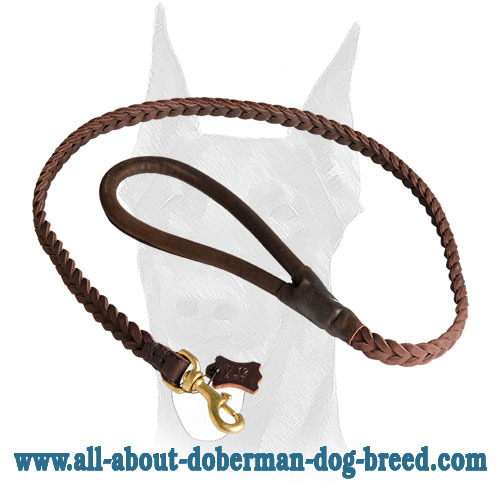 Reliable brass snap hook for braided leather Doberman leash