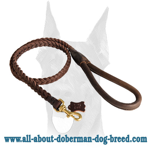 Braided leather Doberman leash with comfy handle