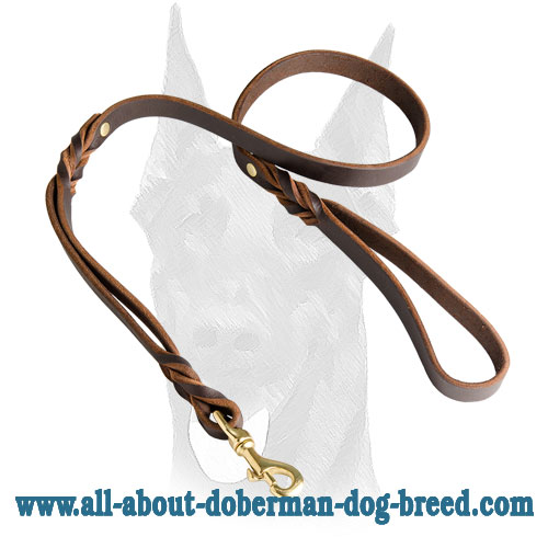 Strong riveted leather leash with short braids for Doberman