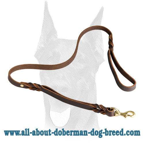 Optional leather Doberman leash with extra handle