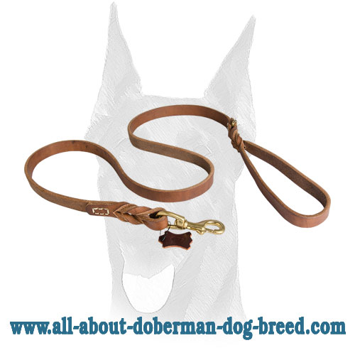 Leather Doberman leash with short braids