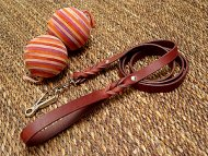 Leather Doberman leash with quick release snap hook