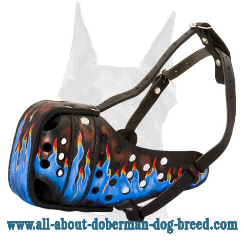 Extreme comfort leather Doberman muzzle