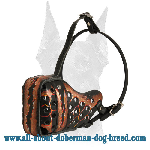 Perfect air flow leather Doberman muzzle with ventilation holes and steel front bar