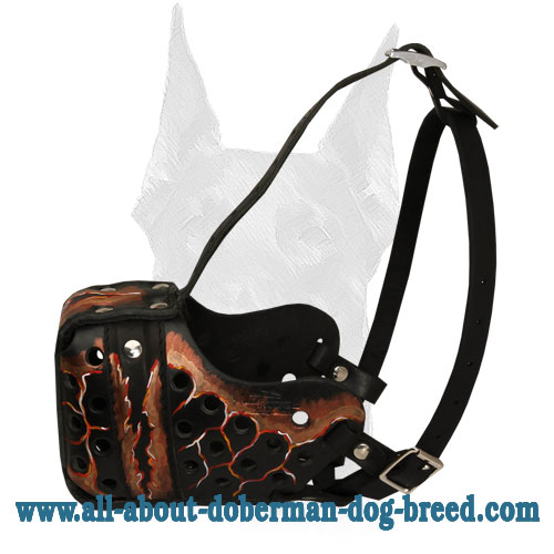 Handpainted Magma style leather Doberman muzzle