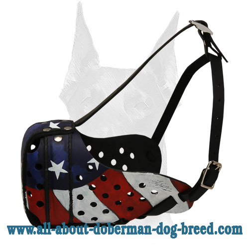 American Pride handpainted leather Doberman muzzle
