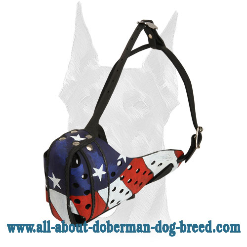 Reinforced with steel front bar leather Doberman muzzle