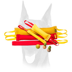Heavy stuffed French Linen bite tugs set for Doberman