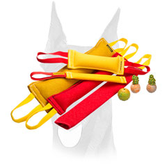 Soft reliable handles for French Linen Doberman bite tugs