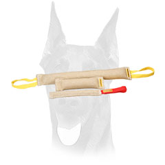 Soft comfy handles for easy usage of jute Doberman bite tugs