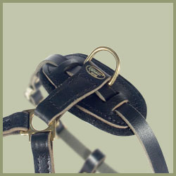 Tac-Black Leather Padded Tracking Harness for Doberman